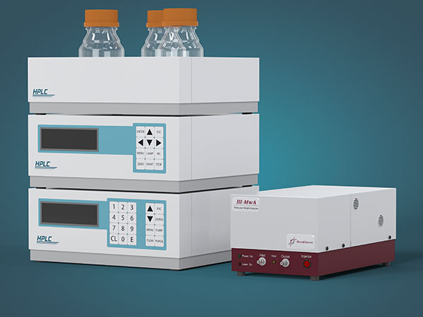 The BI-MwA can be used as part of a GPC system for absolute MW determination